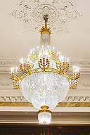 Bronze chandelier, adorned with crystal pendants,  at the Hermitage Theater